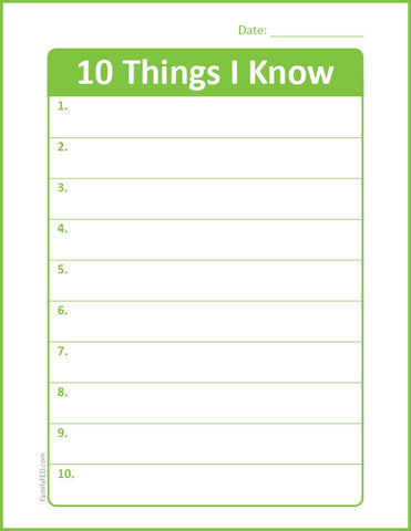 "Download the ""10 Things I Know"" journaling page from Family FED"