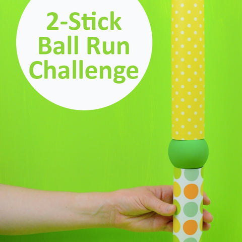 Easy boredom buster idea with balls, toilet paper rolls, and paper towel rolls.
