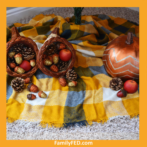 Place pumpkins, cornucopias, and pine cones under a Thanksgiving tree to honor Thanksgiving with a turkey tree while enjoying the Christmas joy, light, and glow.