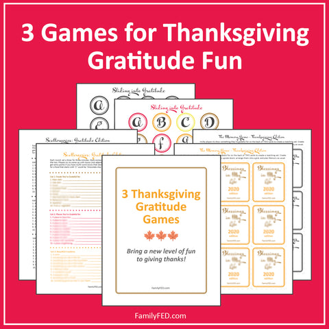3 Easy and Fun Thanksgiving Party Games—Gratitude Game Printables
