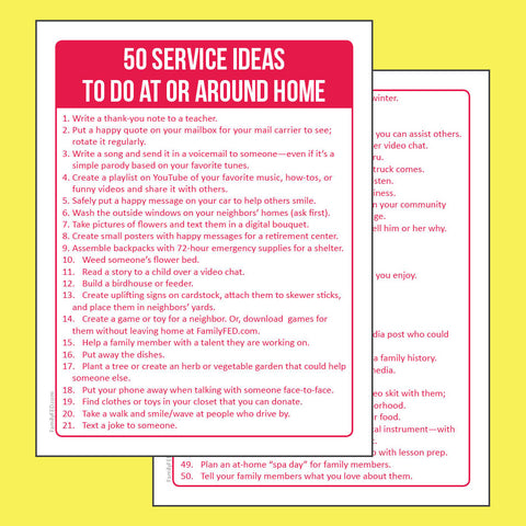 50 simple service ideas to do at or around home during the coronavirus