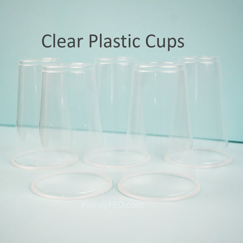Gather five plastic cups.