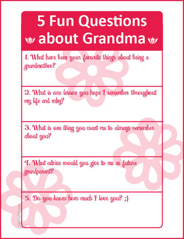 Download free journaling prompts to ask Mom or Grandma on Mother's Day