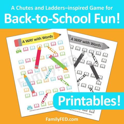 Printable Chutes and Ladder game for back-to-school and school parties