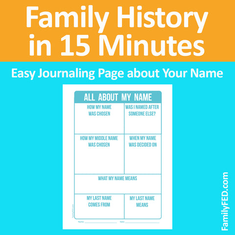 Family History Made Easy with Free Journaling Pages about Your Name for Our Family History in 15 Minutes Series by Family FED
