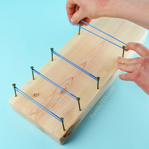 Add rubber bands around the nails on Family FED's DIY Board Bounce game