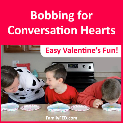 Bobbing for Conversation Hearts—an Easy Valentine's Day Party Game for Kids!