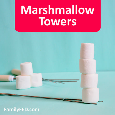 Marshmallow Tower Contest easy camp game for campfires, family campouts and family reunions, girls' camp, Young Women camp, and boys' camp