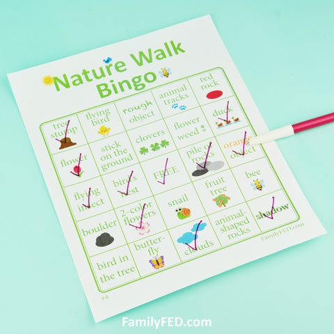 10 Printable Nature Walk Bingo cards for girls' camp, family campouts and family reunions, nature adventures, and boys' camps