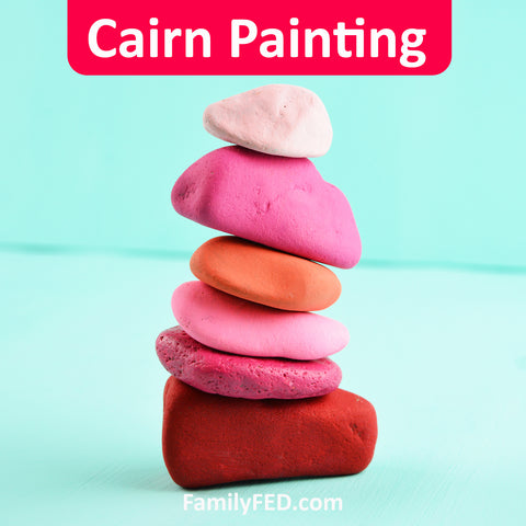 Painted cairn activity for family campouts and family reunions, nature adventures and nature walks, girls' camp, Young Women camp, and boys' camp
