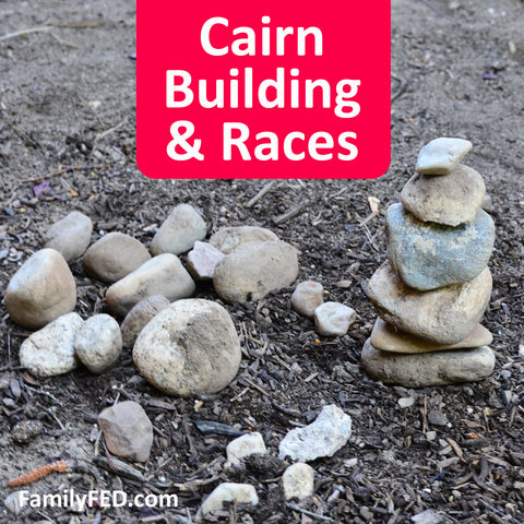 Cairn building and races for family campouts and family reunions, nature adventures and nature walks, girls' camp, Young Women camp, and boys' camp