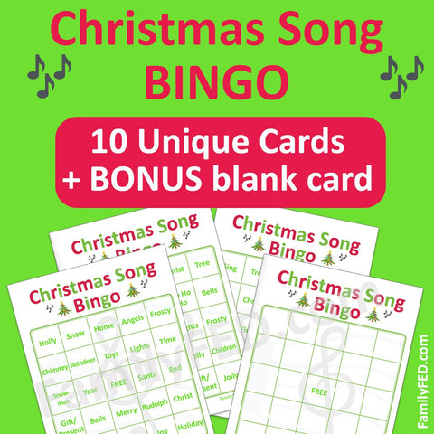 Christmas song Bingo cards for a family Christmas party