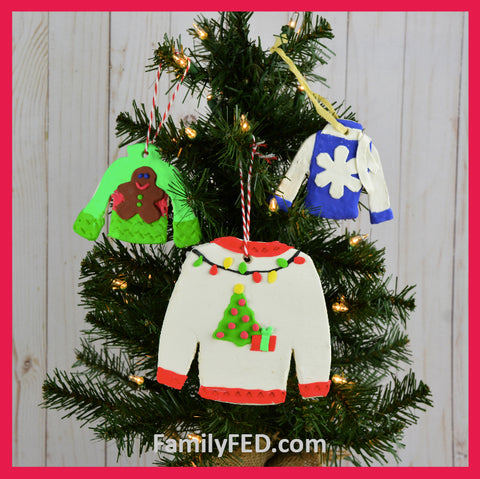 Create ugly-Christmas-sweater ornaments from clay.
