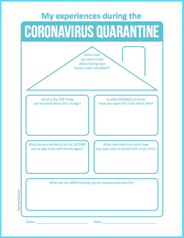 Printable coronavirus quarantine journaling prompts about home