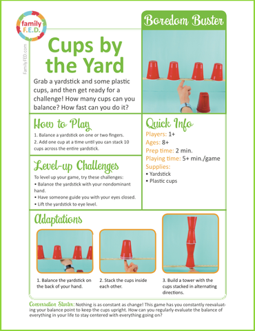 Instructions to play Cups by the Yard by Family FED
