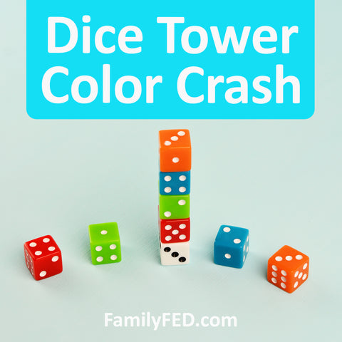 For this easy dice game for parties or family game night, you'll need just two dice per person in different colors.