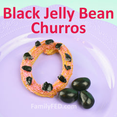 Black jelly bean churros