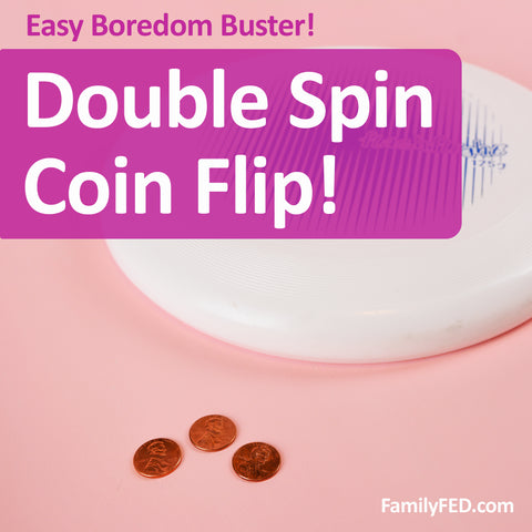 Easy Party Game: Double Spin Coin Flip + Minute-to-Win-It Option