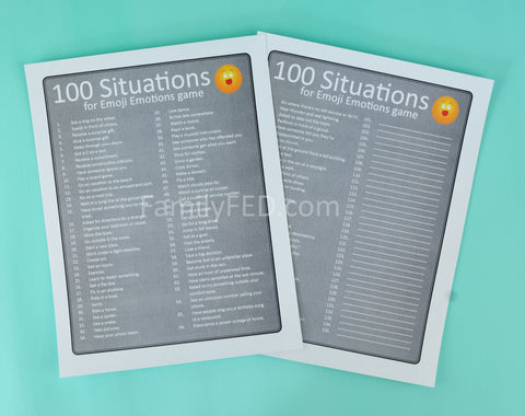 100 situations to talk about your feelings in Emoji Emotions game by Family F.E.D.