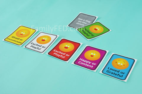 Players guess the person's emotional response in Emoji Emotions game by Family F.E.D.
