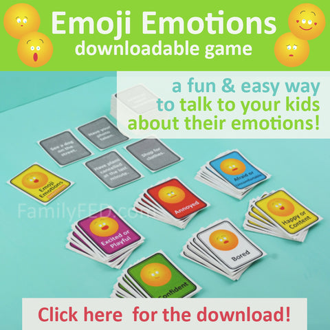 Easy game to talk with your family about their emotions in Emoji Emotions game by Family FED