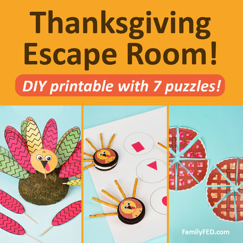 """Mischievous Turkeys"" Thanksgiving Escape Room—the Best Thanksgiving Party Idea for Family Fun!"