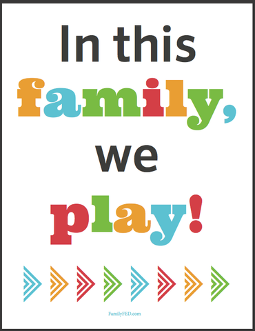 Cover for family activity binder: In this family we play