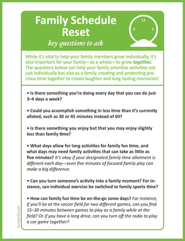 Six questions to help your family decide what can go and what's most important in decluttering your family's schedule