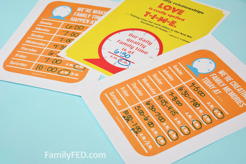 Post your decluttered family schedule in your home and put it into phones as needed. These free downloadable schedules make it easy to remember when family time is each day and how long it will be!