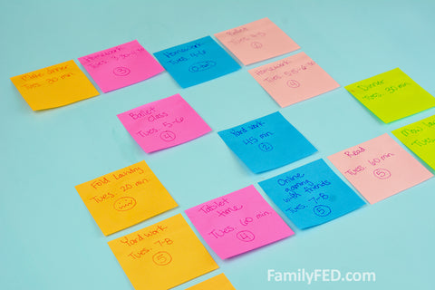 3. Combine the entire family's sticky notes by day of the week and time. Identify any open spaces that are natural for a family time