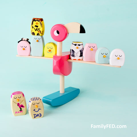 Flamingo balance game for a family mascot