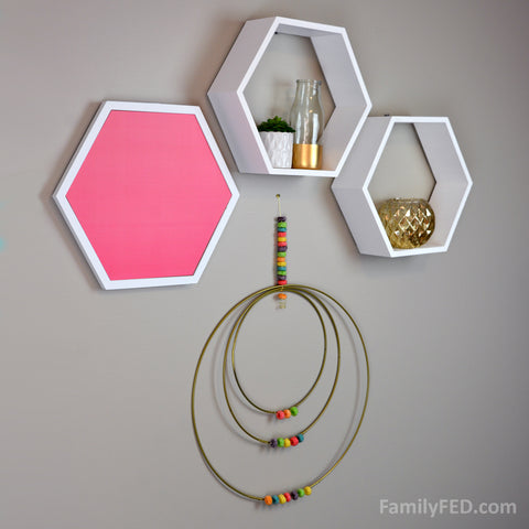 Use three gold hoops to create Fruit Loops Arts and Crafts with home decor—a Creativity Exercise with Fun and Food
