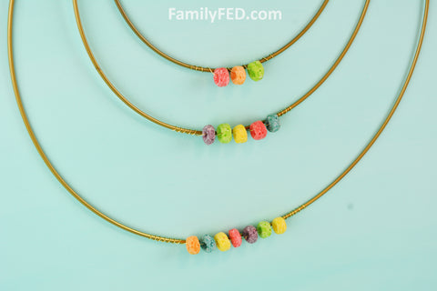 Use three gold hoops to create Fruit Loops Arts and Crafts—a Creativity Exercise with Fun and Food