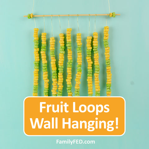 Create a wall hanging with skewer sticks and Fruit Loops for arts and crafts for kids—a Creativity Exercise with Fun and Food