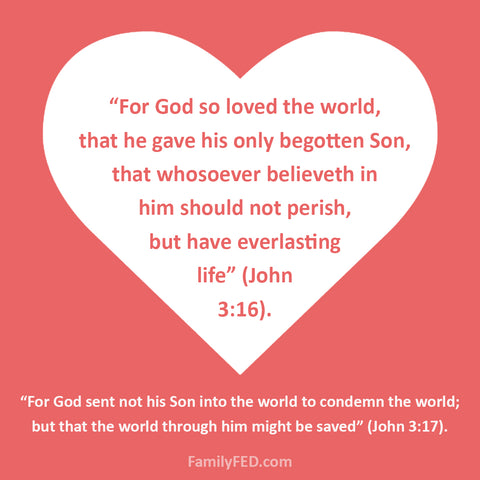 """God so loved the world"" printable from John 3:16–17."