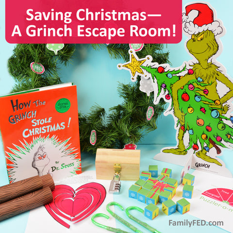 Grinch-inspired Christmas escape room PDF printables and instructions for the best Christmas party!