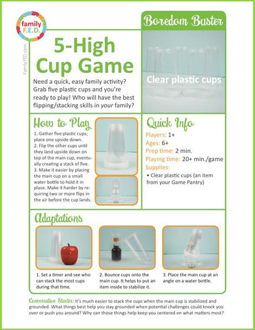 Instructions for 5-High Cup Game by Family FED