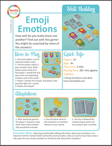 Instructions for Emoji Emotions Game by Family F.E.D.