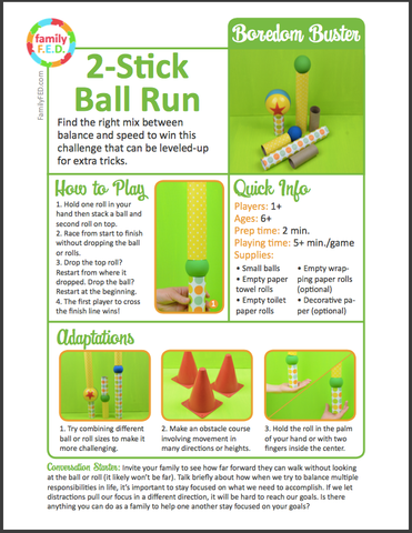 Instructions for how to play 2 Stick Ball Run by Family F.E.D.