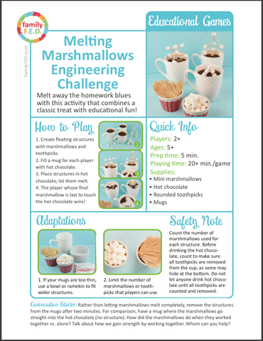 Instructions for how to play Melting Marshmallows Engineering Challenge.STEM. by Family FED