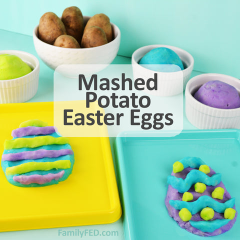 Easter food craft turning mashed potatoes into Easter eggs