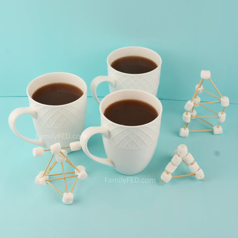 Build a floating marshmallow structure on hot chocolate