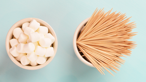 Marshmallows and toothpicks used for marshmallow engineering STEM project