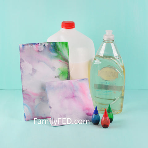 Turn the classic science experiment with milk, dish soap, and food coloring into an art project