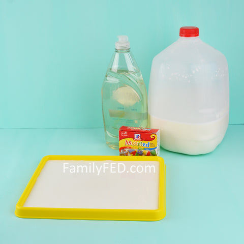 Supplies for Milk Art based on the classic science experiment by Family FED