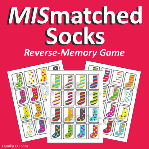 Mismatched Socks—the reverse-memory game with strategy for teens and adults!