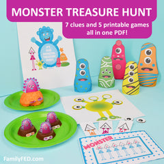 Monster Treasure Hunt; Monster Party Printable and Halloween Party Collection Set