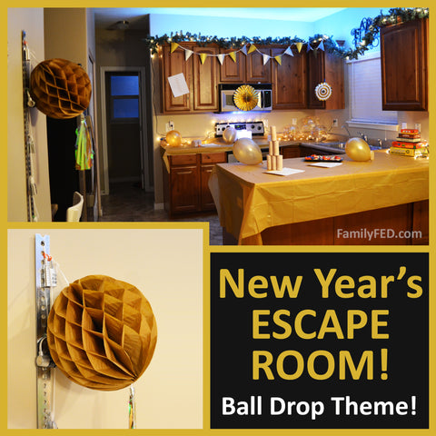 New Year's Eve Ball Drop at-home Escape Room DIY with printables