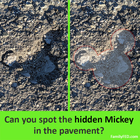 Spot the hidden Mickey in the pavement