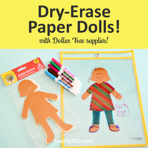 Dry-Erase Paper Dolls—Easy Party Idea, Car Activity, or Rainy-Day Play with Dollar Tree DIY